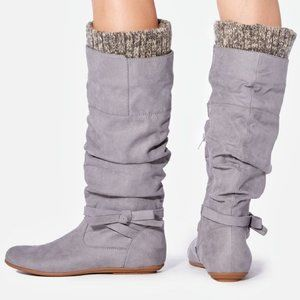 JustFab Selma Flat Boots with Bow